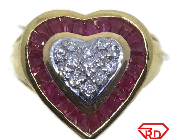 Big Heart Ruby & diamond ring 14k yellow gold S7