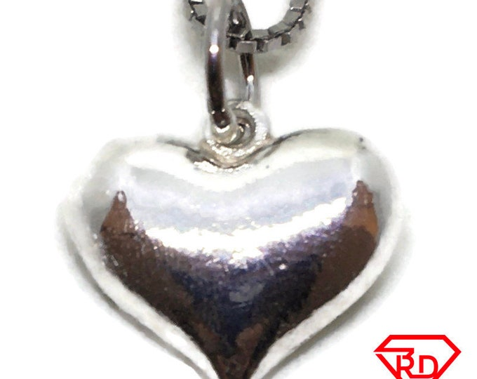 Smooth Heart tiny charm pendant 925 Solid Silver