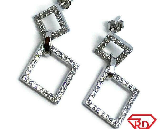 Dangling Diamond Shape 14K White Gold on Sterling Silver Earrings