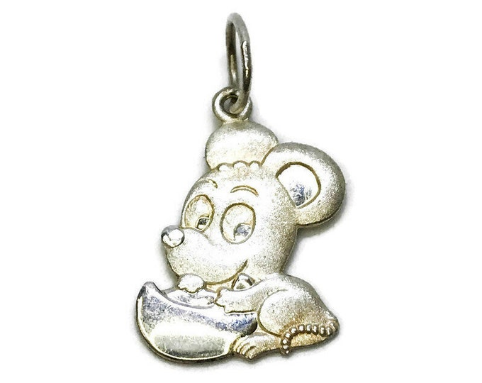 NEW 14K White Gold Layered on .990 Sterling Silver Mickey Mouse Pendant