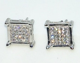 14k White Gold Layered Square shaped CZ with point Corners on 925 Solid Sterling Silver Stud Earrings ( 9 . 5 mm )