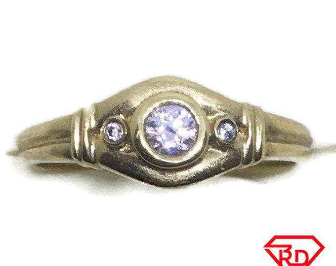 Small Round Diamonds ring 14k yellow gold S6