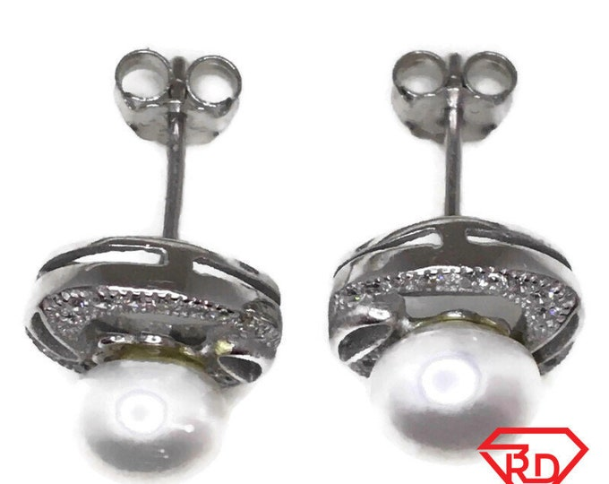Cubic Zirconia Stud Earrings round Pearl White Gold on Silver