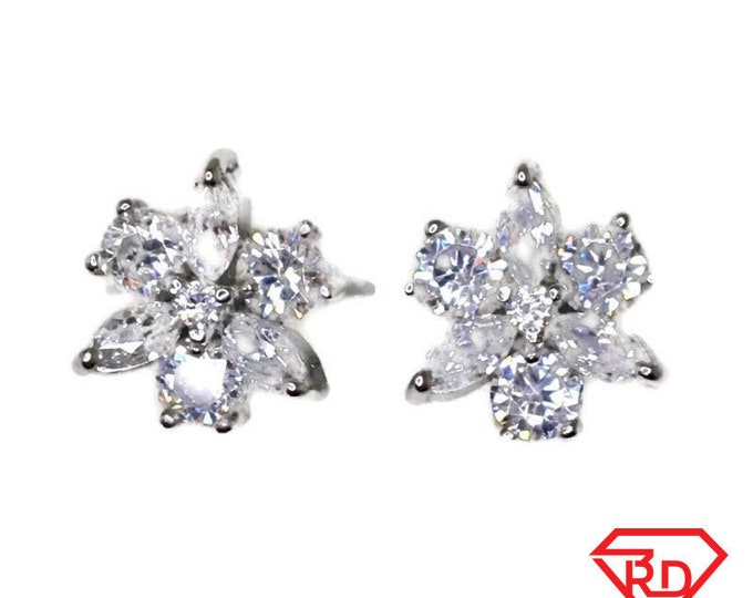 Brand New white gold on 925 Silver Studs Earrings Beautiful Flower with white round and Marquise CZ ( 12 . 3 mm )