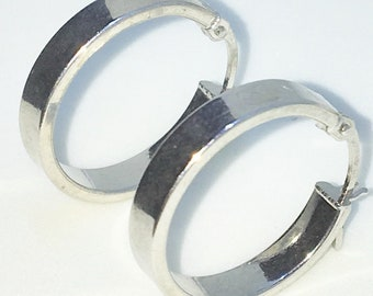 Brand New White Gold on 925 Solid Sterling Silver Plain Smooth round hoop Earrings ( 18 . 3 mm )