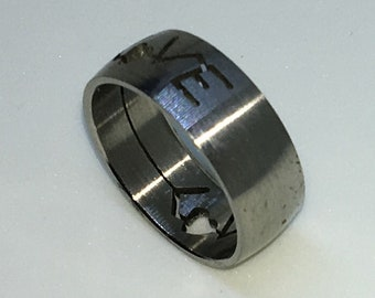 7 . 7mm Size 8 . 75 Brand New White Gold Plated with L O V E sign on Stainless Steel ring band