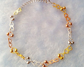 14k Rose, Yellow, White Gold Layer on 925 Sterling Silver Link Hearts Bracelet