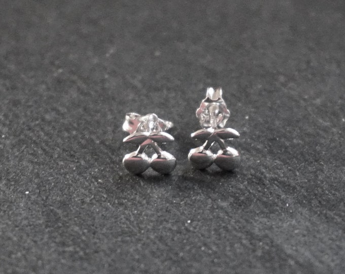 New 14k White Gold on 925 Sterling Silver Simple Everyday Wear Double Cherry Earrings ( 7 . 2 mm )