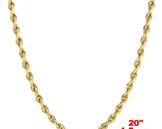 Italian 14k yellow gold layer on .925 Sterling Silver Classic Rope Chain 1.5 MM 20 ""