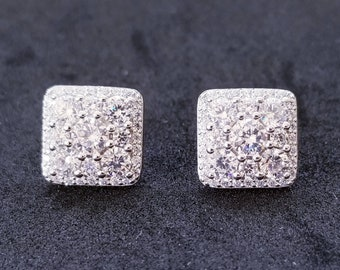 New 14K White Gold on 925 Sterling Silver Square Princess Cut CZ Stones Earrings