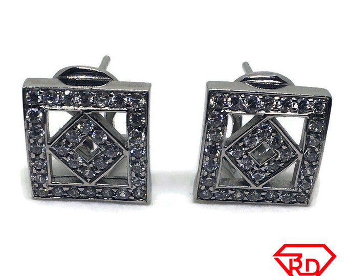 Double Square & CZ Clip Stud Earring 14k Solid White gold