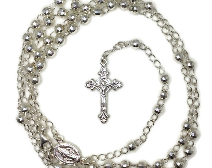 Rosary small disco beads and cross on 925 solid silver