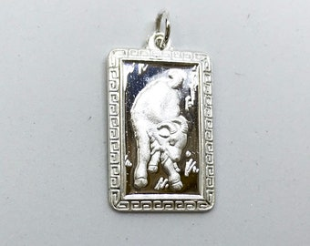 NEW .990 Sterling Silver Year of the Sheep Rectangular Lucky Pendant