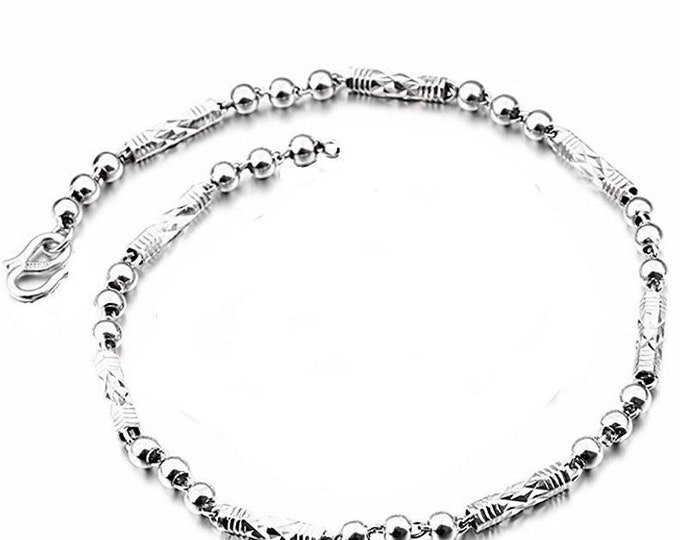 Women children handmade solid .990 fine silver round ball & bar bracelet 4 mm 8""
