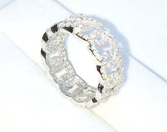 New Handcraft White Gold Plated on Sterling Silver eternity ring band with linked circle design with round white CZ