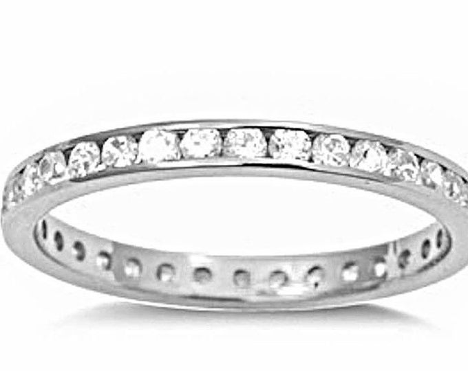 14k w gold layer on sterling silver wedding 1.00ct- cz eternity ring band size 8