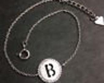 """14k layer on solid .925 silver letter """"b"""" cz handset cable link bracelet : 7-8"""""""