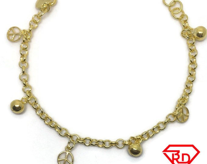 Bell & peace charms 7 inch Bracelet 999 Yellow Gold Layer