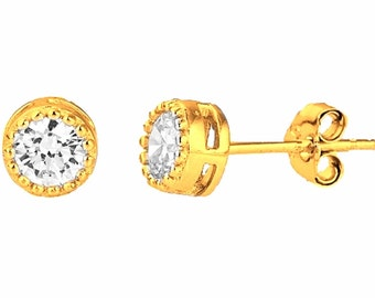 14k Yellow gold layer Small Round Cut CZ .925 Sterling Silver Unisex Earrings