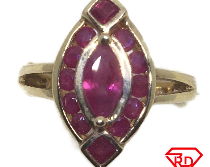 Marquise Red Ruby ring 14k yellow gold S6