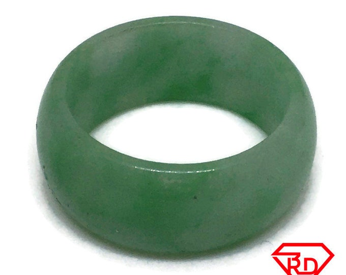 Smooth Plain Round Light green jade ring Band (Size 9)
