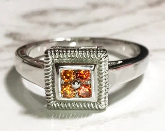 NEW 14K White Gold Layered on Sterling Silver Square with Orange Stones Ring