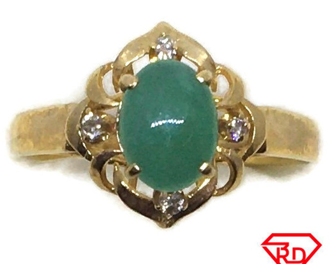Handcraft 14k diamond and light green jade ring S6