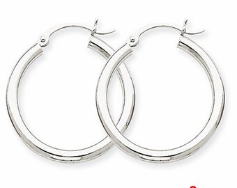 Plain Round Hoop Earrings 14kt white gold layer on Silver notched with Post Back- 2mm 20mm