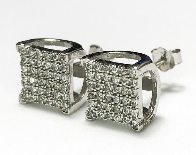 NEW .925 Sterling Silver CZ Square with Stones Earrings