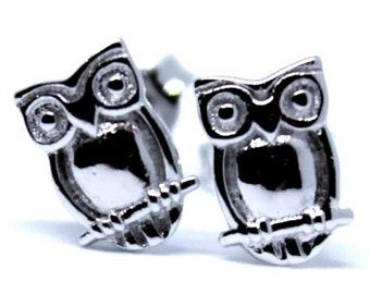Cute 14K White Gold on 925 Silver Owl Earrings