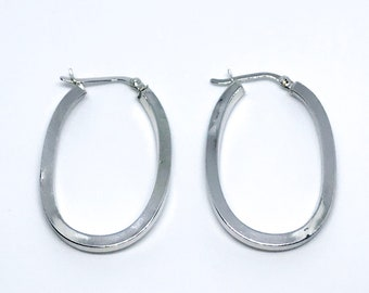 14k white gold on sterling silver hoops with no stone earrings