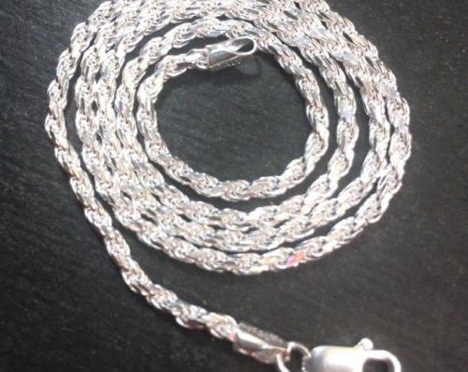 New anti-tarnish 925 solid silver italian children rope chain necklace 2.0mm-16""