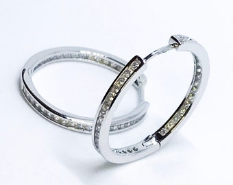 14K White Gold Layered on Sterling Silver Hoop Earrings