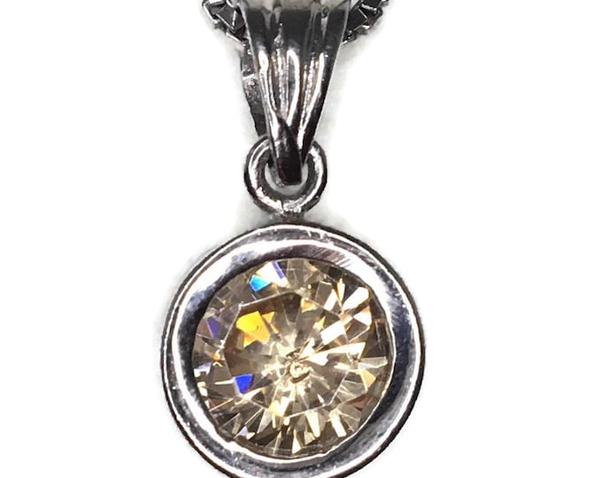 Citrine November Birthstone Pendant Cubic Zirconia and white gold