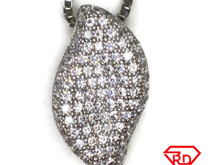 Cubic Zirconia Small Artistic charm pendant white gold on silver