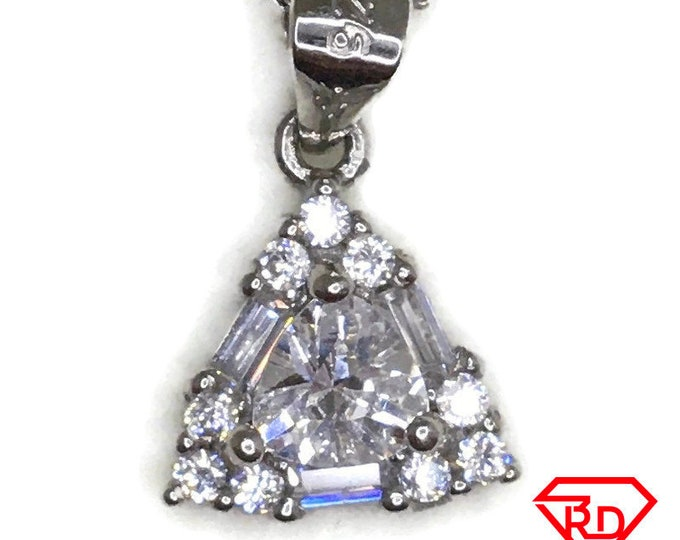 Cubic Zirconia small triangle charm pendant white gold on silver