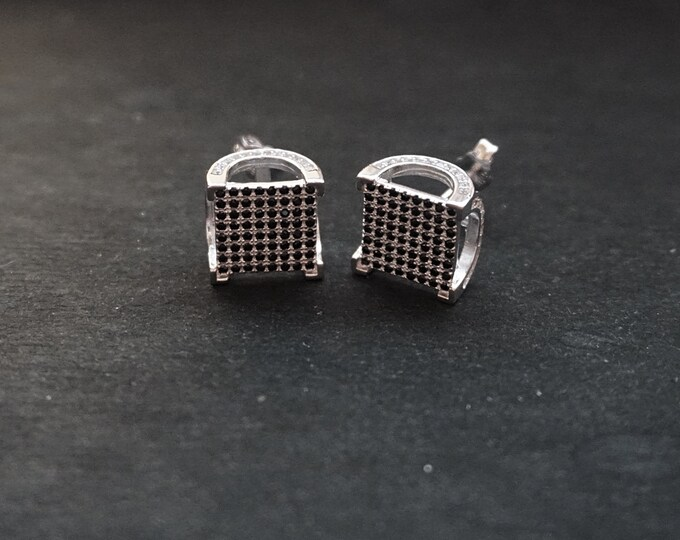 New 14k White Gold on 925 Sterling Silver Men's Black Front Draped CZ Stud Earrings ( 1 2 . 2  mm )