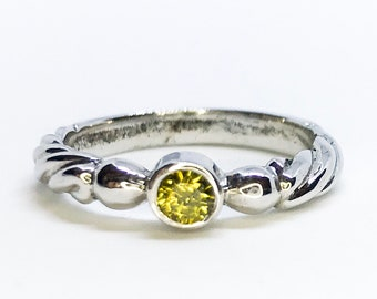 NEW 14K White Gold Layered on Sterling Silver Tiny Lime Green Circle Stone Ring