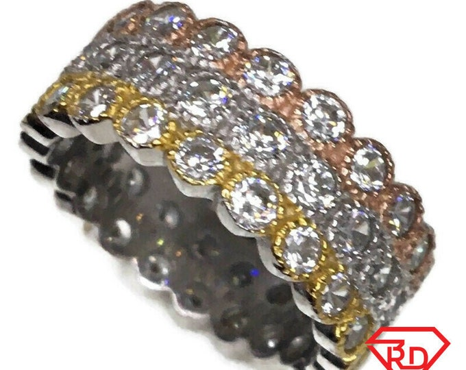 Eternity ring Cubic Zirconia thick 3 tone gold on Silver (size 7)