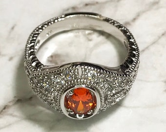 NEW 14K White Gold Layered on Sterling Silver Oval Orange Stone Ring