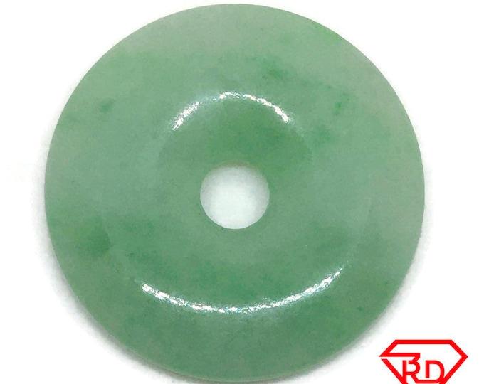 Medium Smooth plain Round Light Green Jade Pendant Charm