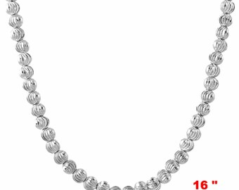18k w gold layered over .925 sterling silver moon cut Beaded chain 3 mm 16 ""