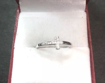 New 0.15 ct Cubic Zirconia 14k Layer On Silver Side Cross Blessing Ring