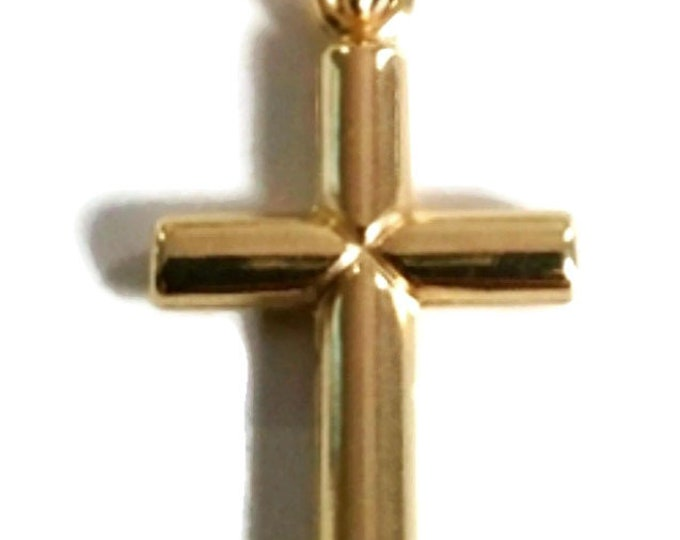 Small Italian Christian Cross 14k yellow gold layer over 925 Sterling Silver Pendant Charm