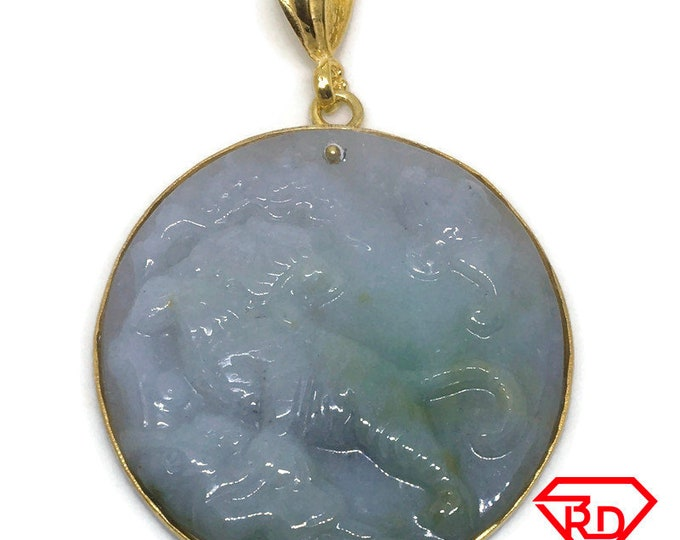 Tiger Round Green Jade Pendant layered 18K Yellow gold
