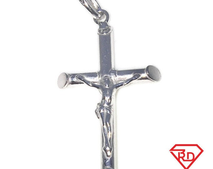 New White Gold on 925 Sterling Silver Pendant Large crucifixion of Jesus Cross ( 25 . 3 mm )