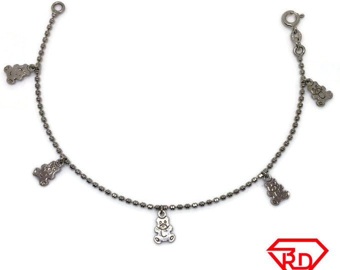 Teddy bear charm Bracelet 8 inch bead chain White gold Layer