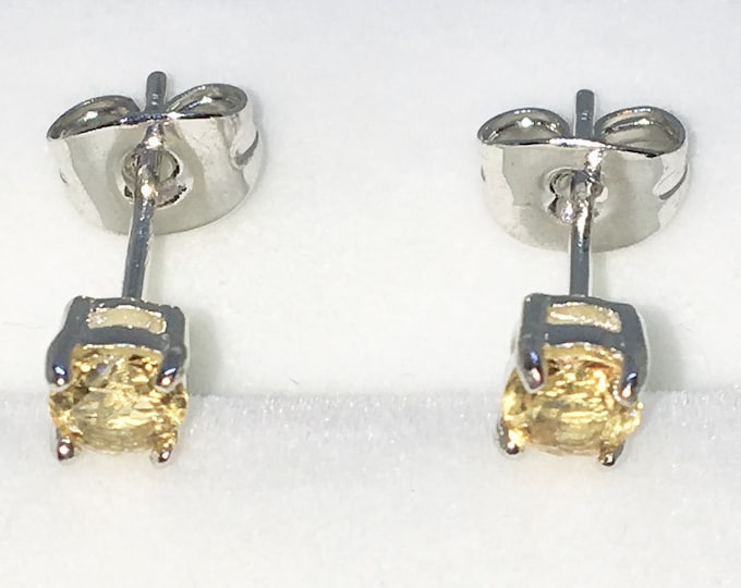 New White Gold on 925 Solid Sterling Silver Single Small Yellow Round CZ Studs Earrings ( 3 . 8 mm )