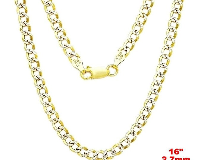 Italian diamond cut 14k white & yellow gold layered over 925 silver- 2.7mm curb chain 16""