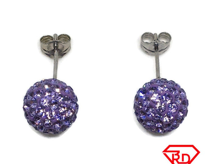 Purple Disco Ball Crystal Medium stud Earrings White gold layer